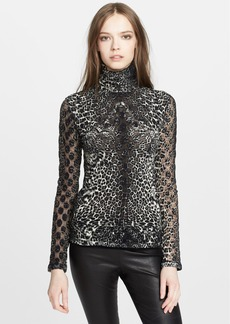 Jean Paul Gaultier Print Flocked Turtleneck Top