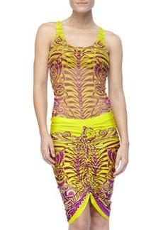 Jean Paul Gaultier Printed Drawstring Coverup Skirt