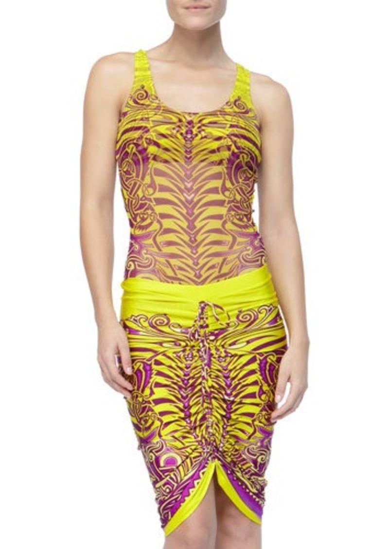 Jean Paul Gaultier Printed Drawstring Coverup Skirt