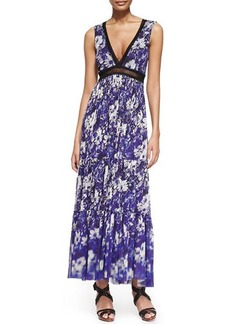 Jean Paul Gaultier Printed Lace-Inset Tiered Maxi Dress
