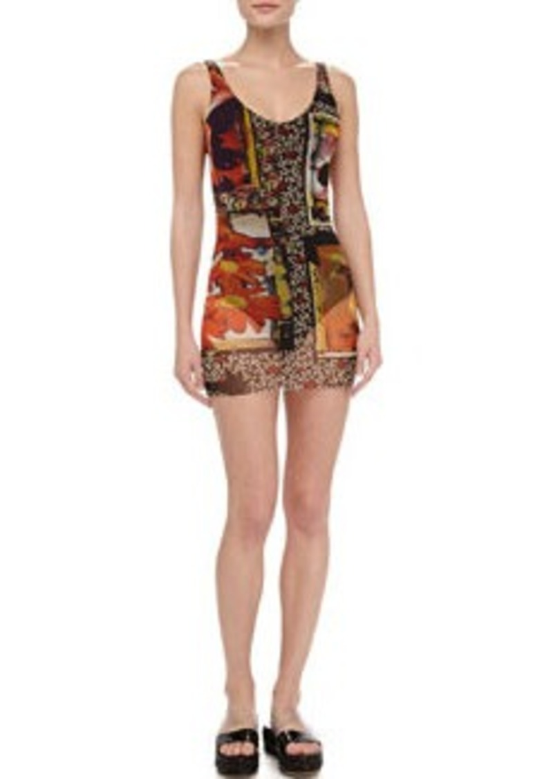 Jean Paul Gaultier Printed Sheer-Overlay Swimdress
