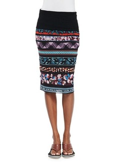 Jean Paul Gaultier Printed Striped Tube Skirt, Blue Multi