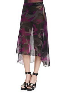 Jean Paul Gaultier Sheer Camouflage Side-Slit Coverup Skirt