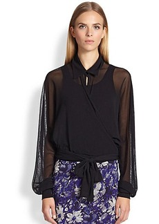 Jean Paul Gaultier Sheer Mesh Wrap Blouse