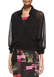 Jean Paul Gaultier Sheer Oversized Wrap Blouse