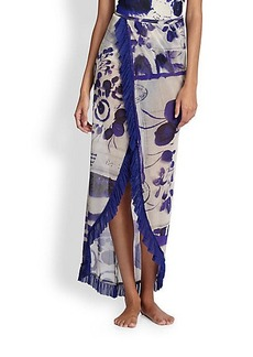 Jean Paul Gaultier Sheer Print Wrap Skirt