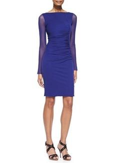 Jean Paul Gaultier Sheer-Sleeve Bateau Sheath Dress  Sheer-Sleeve Bateau Sheath Dress
