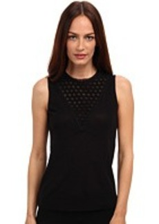 Jean Paul Gaultier Solid Tulle Sleeveless Top w/ Fishnet Inset