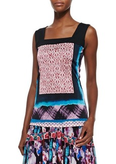Jean Paul Gaultier Square-Neck Printed Liquid Jersey Top, Pink Multi