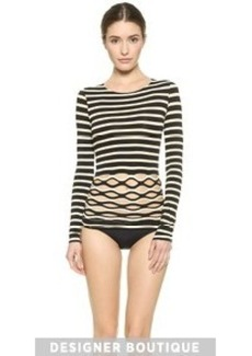 Jean Paul Gaultier Striped Cutout Top