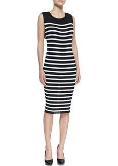 Jean Paul Gaultier Striped Sleeveless Knit Dress, Black/Cream