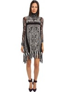 Jean Paul Gaultier Tapestry Tulle Turtlenck Dress With Fringe