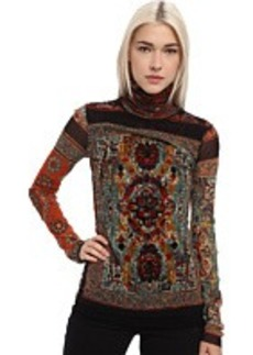 Jean Paul Gaultier Tapestry Tulle Turtleneck With Flocking Detail