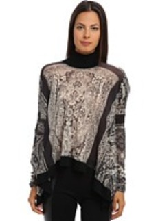 Jean Paul Gaultier Tapestry Virgin Wool Hi-Low Turtleneck Top