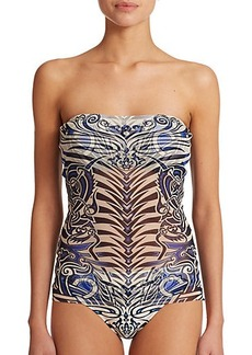 Jean Paul Gaultier Tattoo-Print Bandeau Two-Piece Tankini