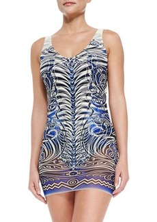 Jean Paul Gaultier Tattoo-Print Maillot with Tulle Overlay  Tattoo-Print Maillot with Tulle Overlay