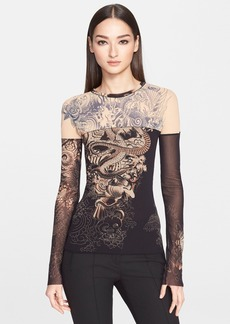 Jean Paul Gaultier Tattoo Print Tulle Top (Nordstrom Exclusive)