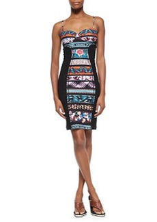 Mixed-Print Paneled Bustier Dress, Blue Multi   Mixed-Print Paneled Bustier Dress, Blue Multi