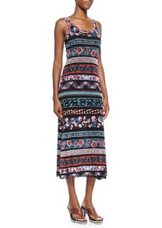 Mixed-Print Striped Tank Dress, Blue Multi   Mixed-Print Striped Tank Dress, Blue Multi