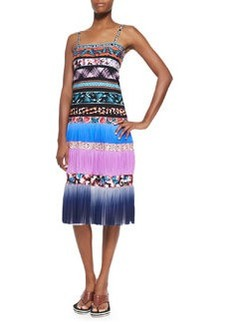 Ombre Striped Mixed-Print Tiered Slip Dress, Blue Multi   Ombre Striped Mixed-Print Tiered Slip Dress, Blue Multi