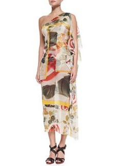 One-Shoulder Sheer Printed Coverup   One-Shoulder Sheer Printed Coverup