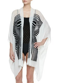Optical Sheer Striped Chiffon Coverup   Optical Sheer Striped Chiffon Coverup