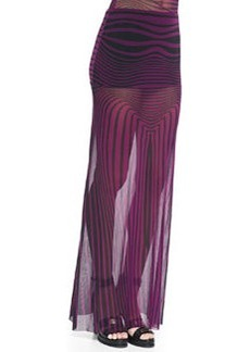 Optical Striped Sheer Maxi Skirt Coverup   Optical Striped Sheer Maxi Skirt Coverup