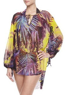 Palm Leaf-Print Long-Sleeve Coverup, Viola   Palm Leaf-Print Long-Sleeve Coverup, Viola