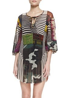 Patchwork-Print Caftan Coverup   Patchwork-Print Caftan Coverup