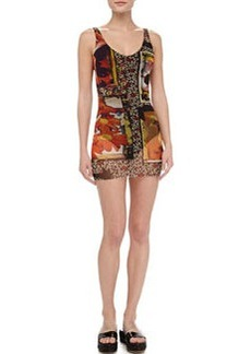Printed Sheer-Overlay Swimdress   Printed Sheer-Overlay Swimdress