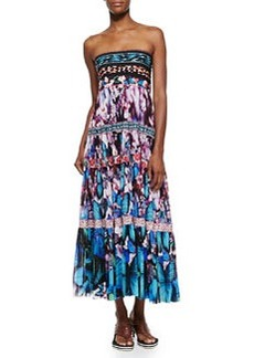 Printed Tiered Full-Skirt Dress, Blue Multi   Printed Tiered Full-Skirt Dress, Blue Multi