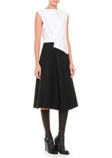 Fold-Pleated Colorblock Fit-And-Flare Dress, White/Black   Fold-Pleated Colorblock Fit-And-Flare Dress, White/Black