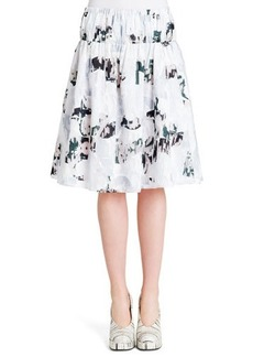 Jil Sander Abstract-Print Elastic-Waist Cotton Skirt