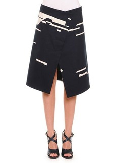 Jil Sander Broken Stripe-Print Asymmetric Skirt, Navy