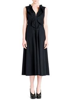 Jil Sander Cascade Ruffle-Front Cotton Gabardine Dress