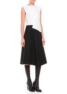 Jil Sander Fold-Pleated Colorblock Fit-And-Flare Dress