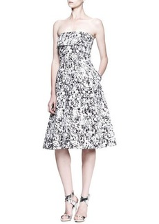 Jil Sander Fresco Printed Strapless Dress