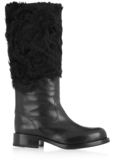 Jil Sander Leather and shearling knee boots