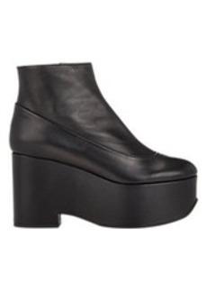 Jil Sander Leather Platform Wedge Booties
