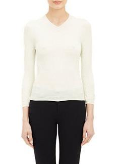 Jil Sander Rose Jacquard V-Neck Sweater