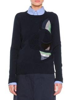Jil Sander Shimmer & Textured Fan-Inset Sweater, Navy