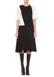 Jil Sander Short-Sleeve Asymmetric Flap Dress, Black