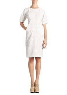 Jil Sander Short-Sleeve Cotton Jacquard Dress, White