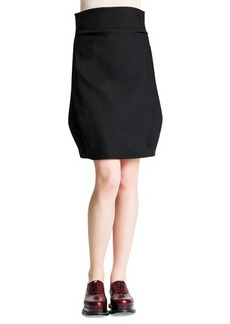 Jil Sander Side-Draped Wide-Banded Tulip Skirt, Black
