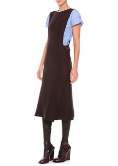 Jil Sander Side-Fold Fluid Cady Dress, Brown