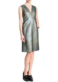 Jil Sander Sleeveless V-Neck A-Line Dress, Silver