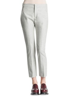 Jil Sander Slim-Leg Back-Yoke Flannel Pants, Gray