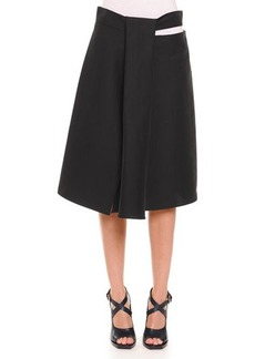 Jil Sander Slit Draped A-Line Skirt, Black