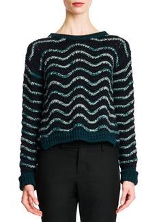Jil Sander Wavy-Stripe Cropped Knit Sweater