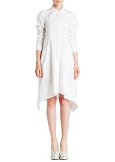 Long-Sleeve Button-Front Shirtdress, White   Long-Sleeve Button-Front Shirtdress, White